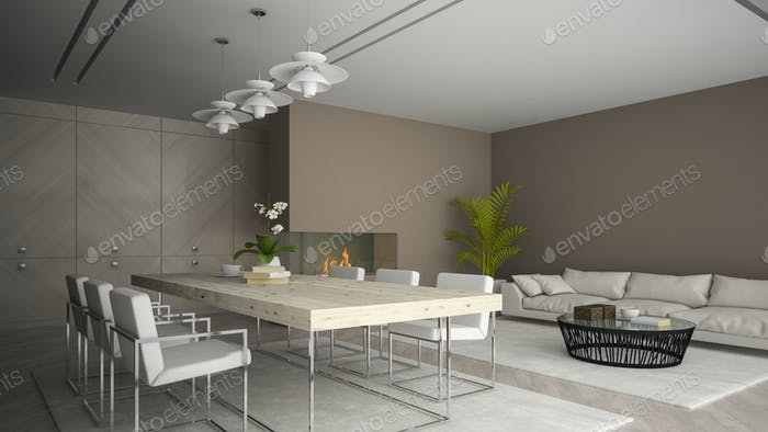Interior of modern room with fireplace and palm 3D rendering 2