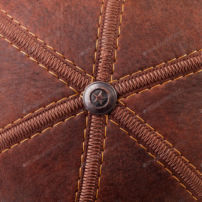 Threads seam on leather