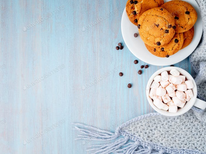 Chocolate chip cookies with cocoa, marshmallow.