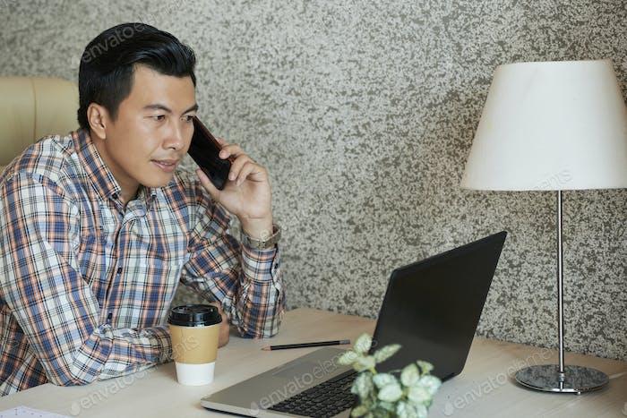 Entrepreneur calling on phone