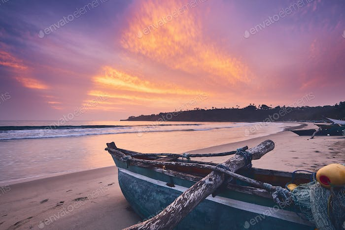 Colorful sunrise on the beach