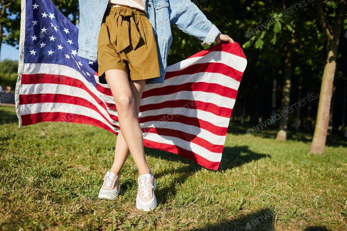 Walking with American flag