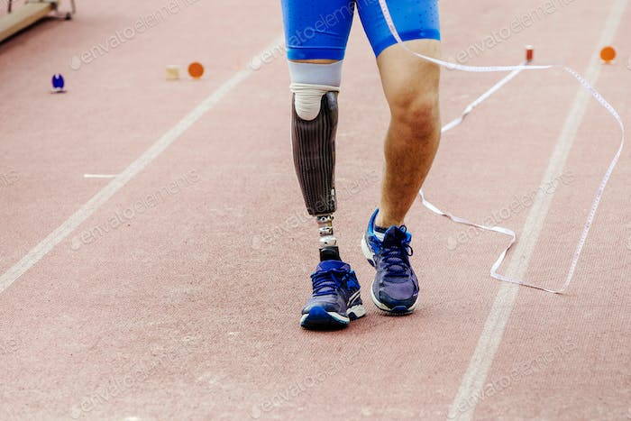 leg prosthetic of athlete paralympic