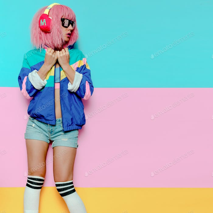 Stylish Girl DJ. Musical vibrations. Clubbing Minimal pop art