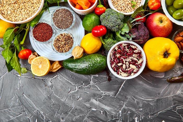 Ausgewogene Lebensmittel Hintergrund, Bio-Lebensmittel für gesunde Ernährung.