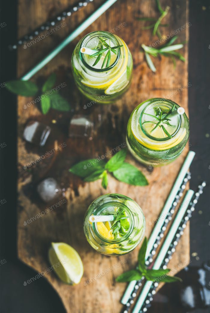 Citrus and herbs infused sassi water for detox, healthy eating