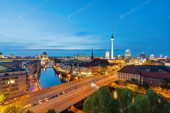 The skyline of Berlin at dusk
