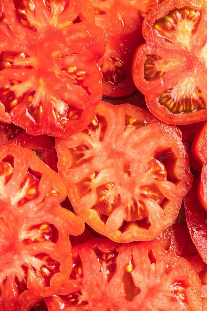 Sliced red beefsteak tomatoes