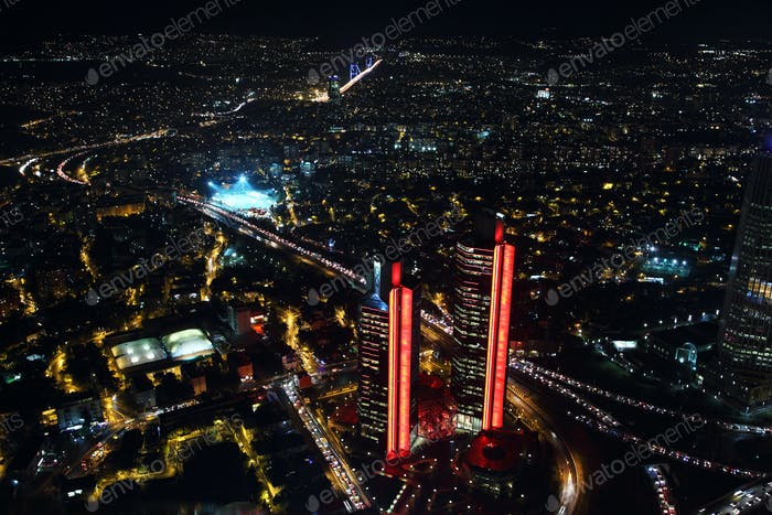 Aerial view of the city downtown and skyscrapers from Istanbul Sapphire,Turkey
