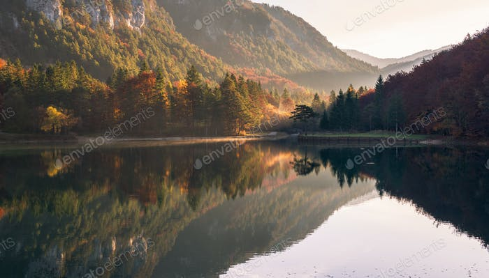 Autumn views of the mountains at the lake