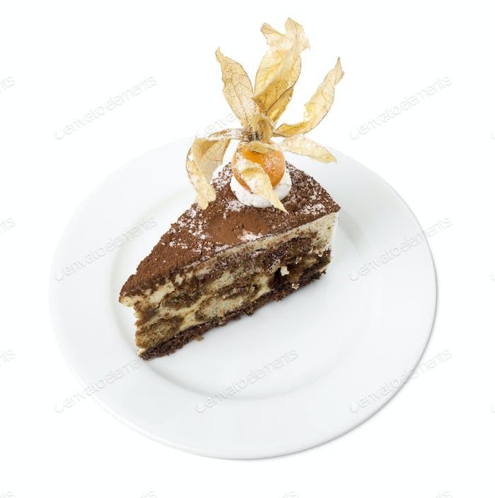 Delicious tiramisu cake with physalis.