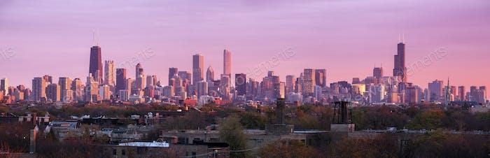 Colorido atardecer en Chicago