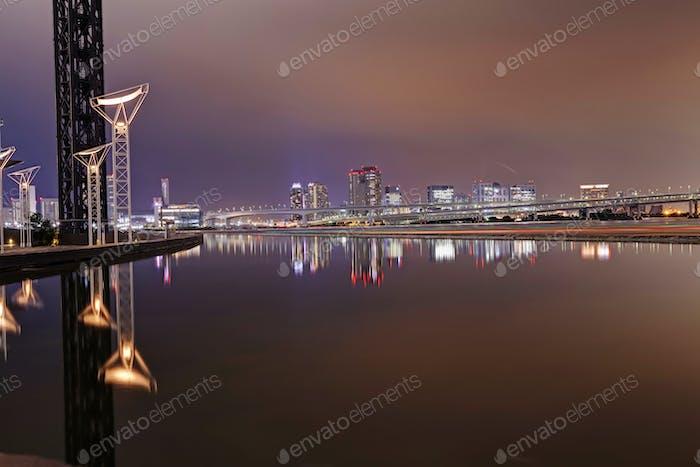 Night view on Tokyo skyline from Harumi Wharf Park