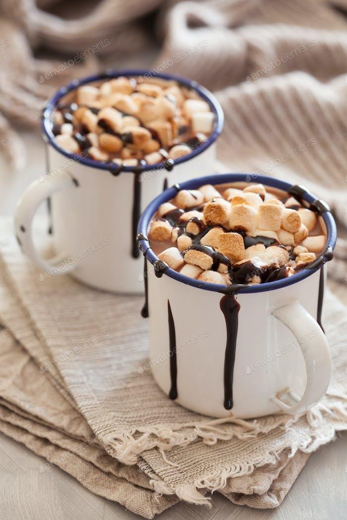 s'mores hot chocolate mini marshmallows cinnamon winter drink