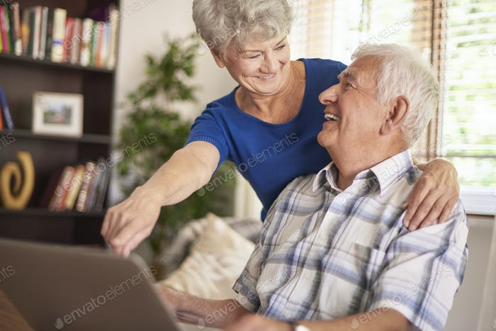 Elder marriage using their laptop together
