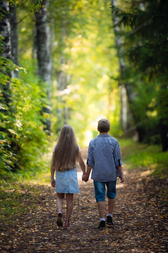 Schöner Junge und Mädchen spazieren im schönen Sommerwald