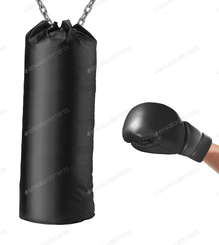 boxing glove punches punching bag isolated
