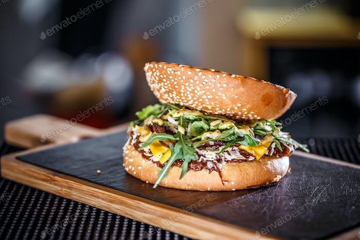 Close-up of beef burger