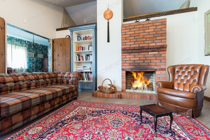Elegant rustic living room with sofa,