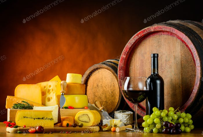 Wine Barrel with Cheese and Food