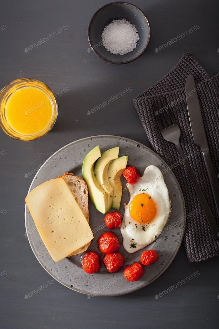 fried egg, avocado, tomato for healthy breakfast