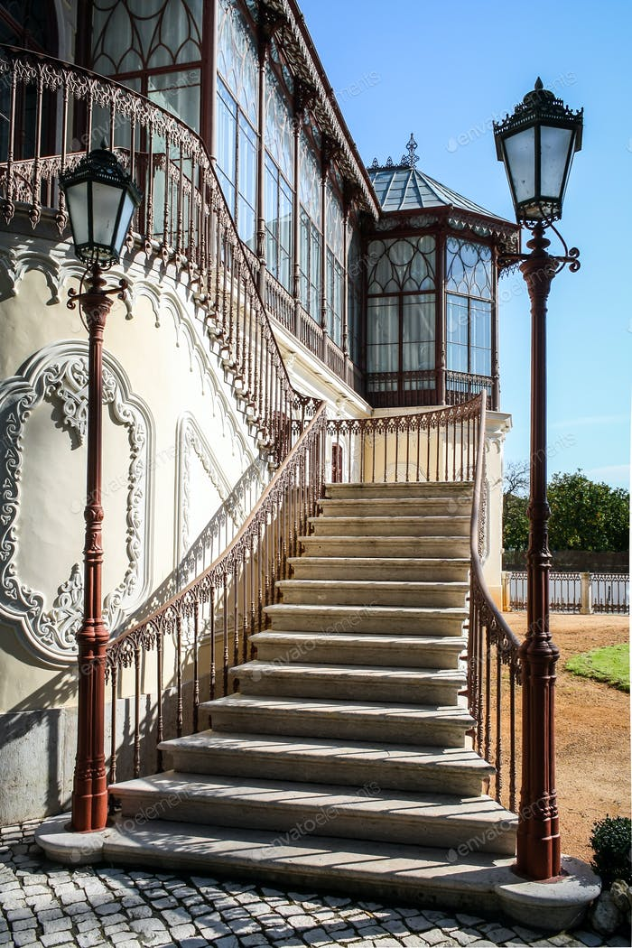 Stairs with two vintage lamp poles