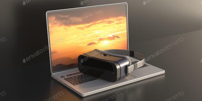 Virtual reality helmet on laptop, black background. 3d illustration