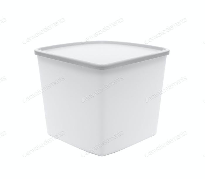 White empty plastic container
