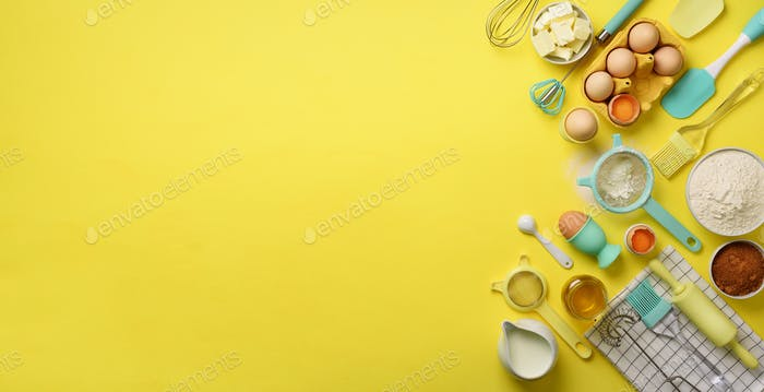 Banner of baking ingredients - butter, sugar, flour, eggs, oil, spoon, rolling pin, brush, whisk