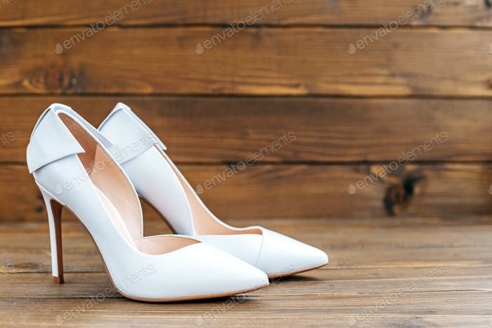 White shoes for the bride. Concept party, wedding and lifestyle