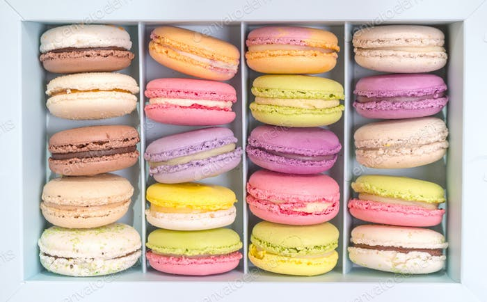 Assorted colorful macaroons in a box