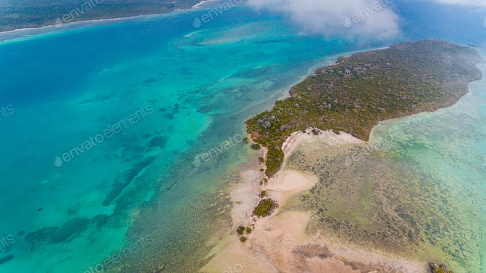 Luftaufnahme der Insel Vundwe in Sansibar