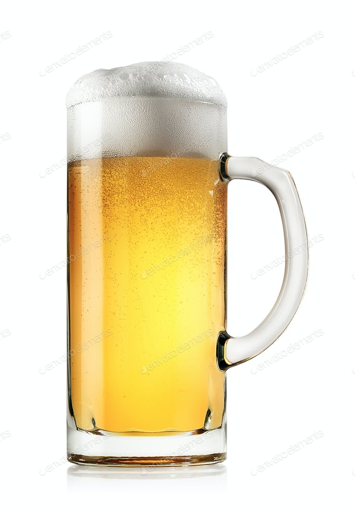 Mug of fresh light beer with foam