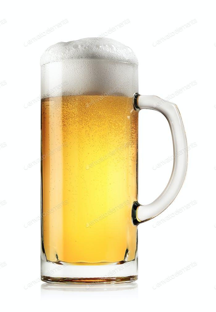 Becher von frischem Licht Bier mit Schaum