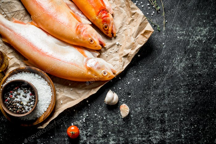 Raw trout on paper with spices and garlic cloves.