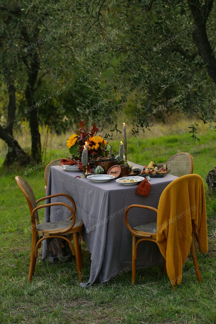 Autumn Table Setting with Pumpkin Soup