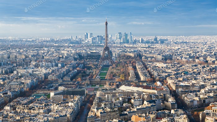 above view of Eiffel Tower in Paris cityscape