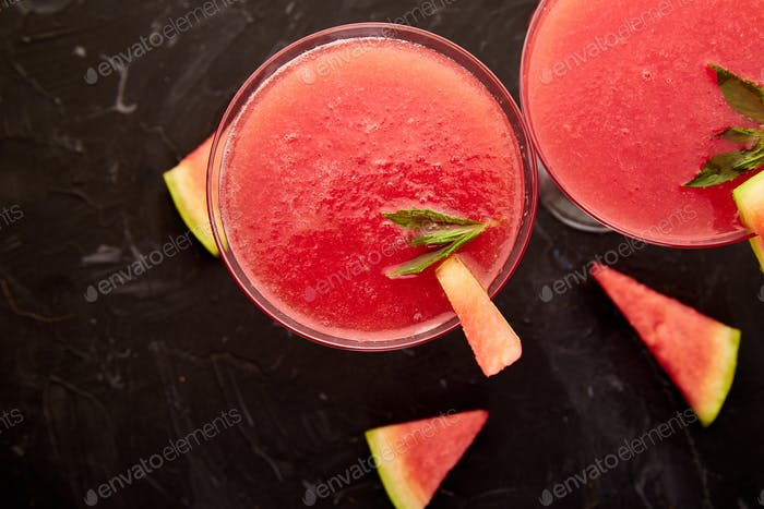 Watermelon margarita cocktail Fresh watermelon lemonade summer drink.