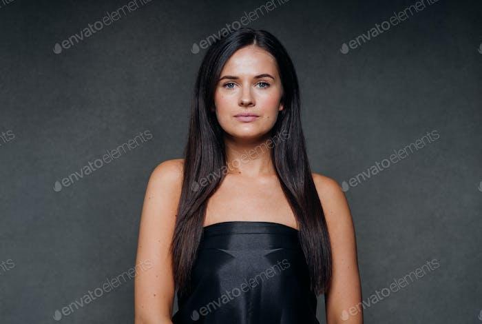 Beautiful woman art concept long brunette hair natural makeup fashion picture