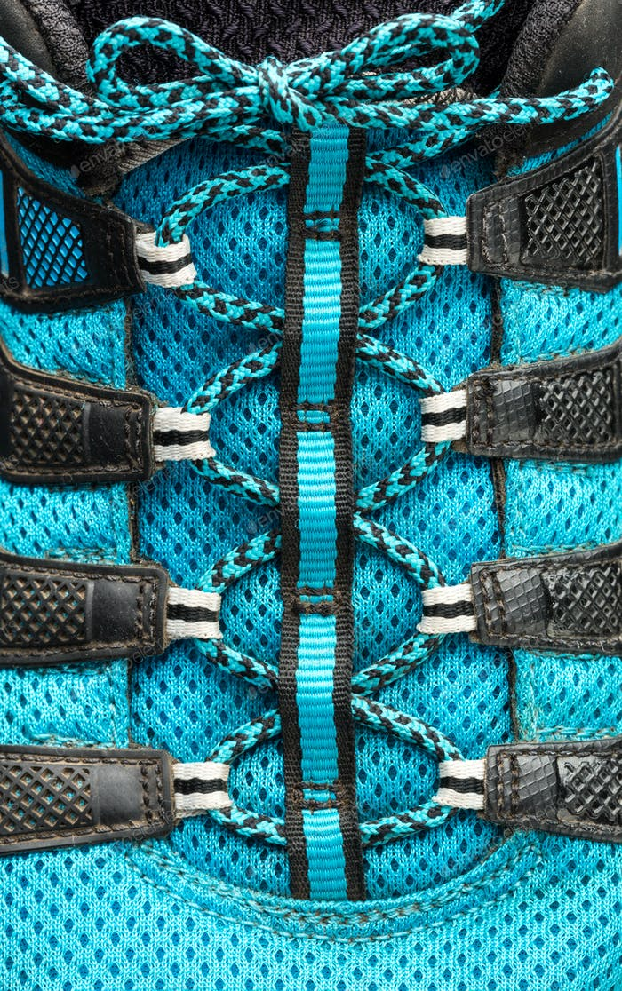 Macro of blue shoelaces