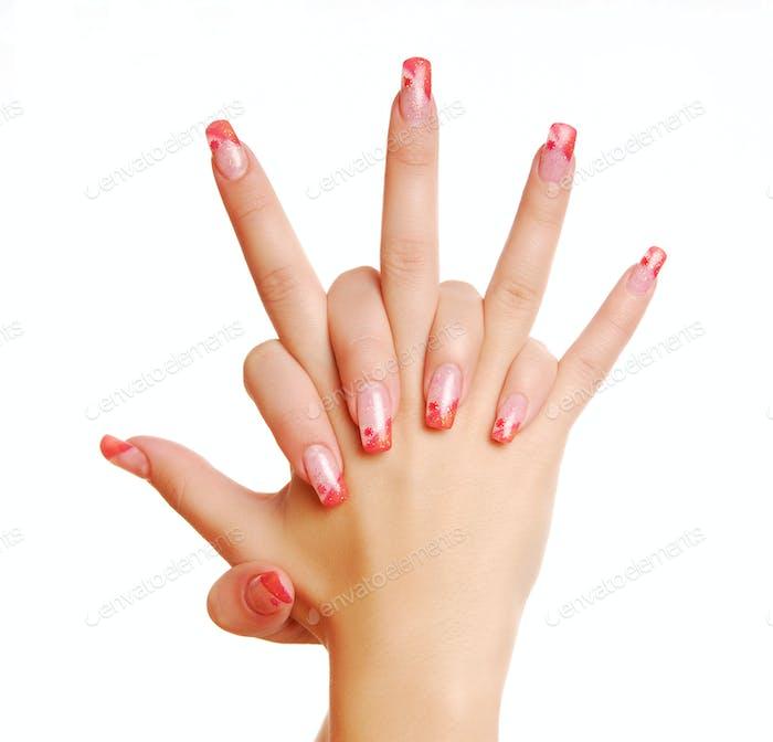 Elegant female hands with beautiful manicure