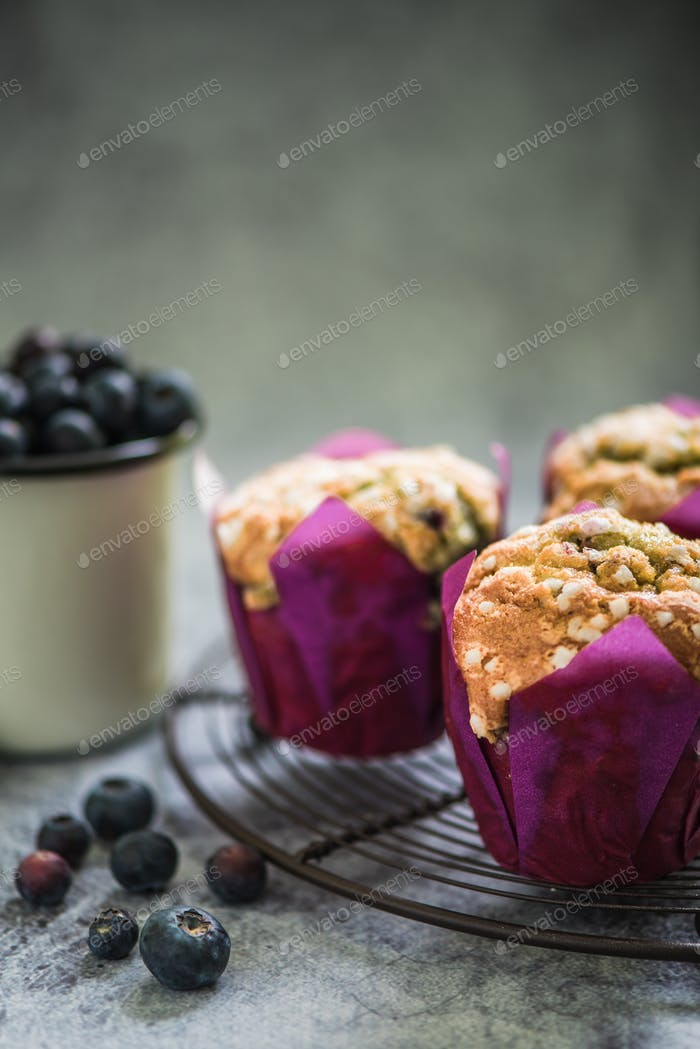 brunch with blueberry muffins