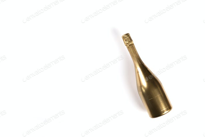 Bottle of Golden Champagne.Symbol of Christmas and New Year.