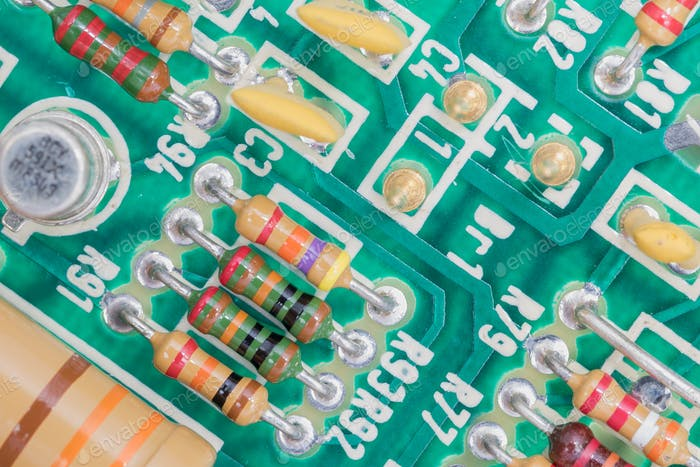 Condensers and Resistor assembly on the circuit board