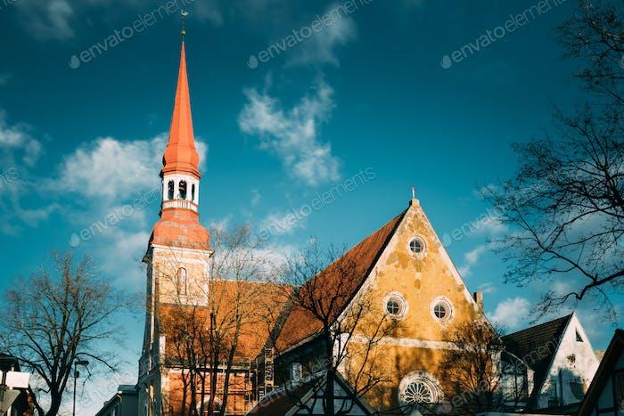 Parnu, Estonia. Close Up View Of Lutheran Church Of St. Elizabet