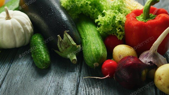 Abundance of fresh ripe vegetables