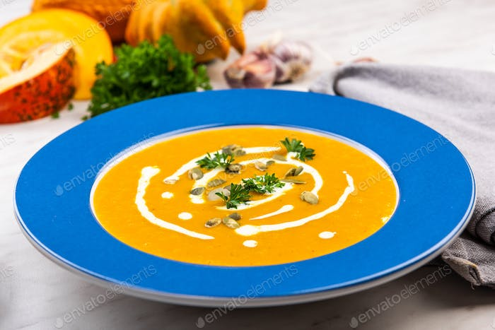 Thanksgiving Special Pumpkin Soup. Festive Menu.