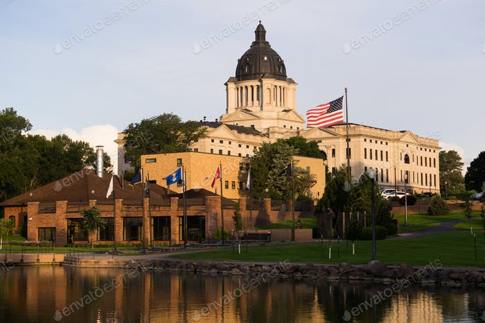 Sun Rising South Dakota State Capital Buildingg Hughes County Pie