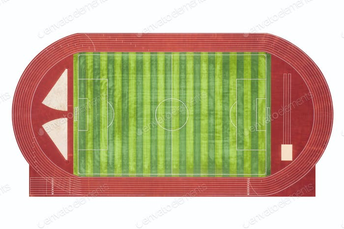 red runway and green football field isolated