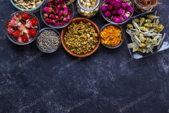 Assortment of dry flower tea